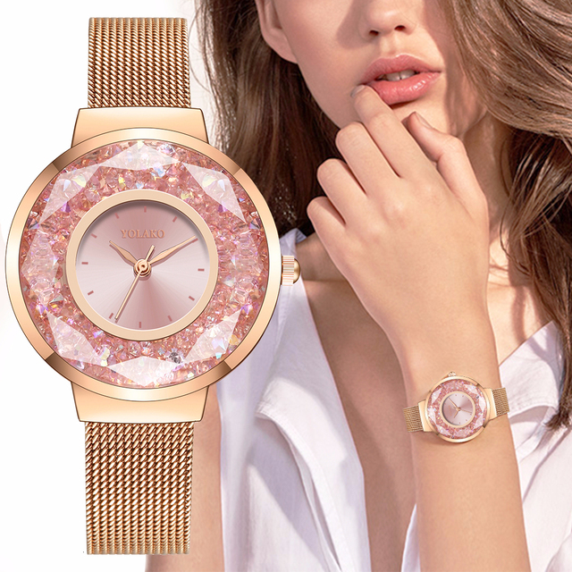 YOLAKO Women Stainless Steel Mesh Belt Moving Diamond Watch Luxury Ladies Quartz Rhinestone Watches Clock Relogio Feminino