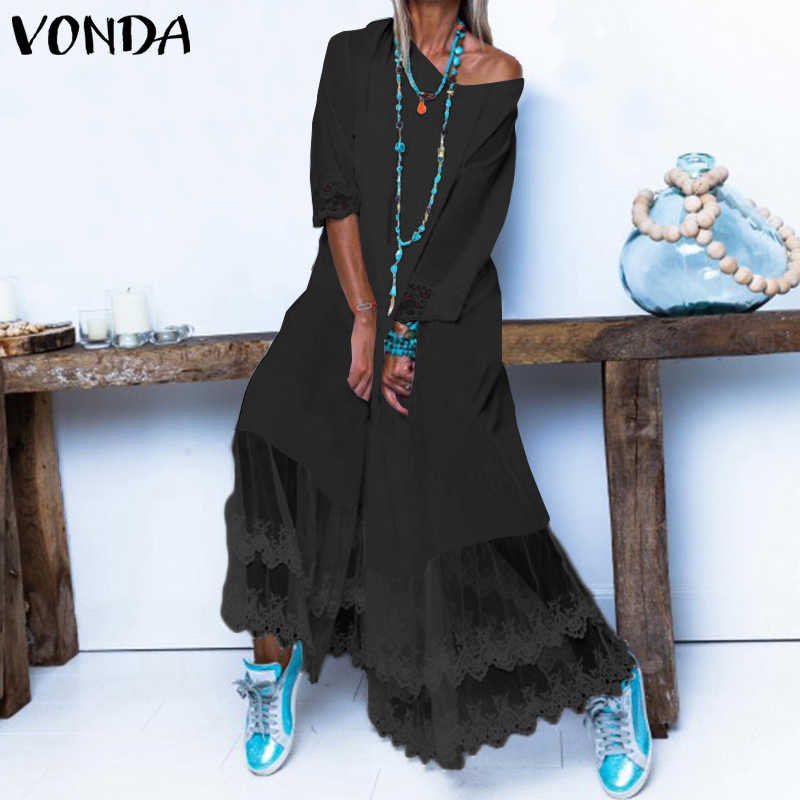 VONDA Women Party Dress 2020 Sexy Lace Patchwork Solid Color Sundress Spring Summer Casual Loose Vestidos Plus Size Robe S-5XL