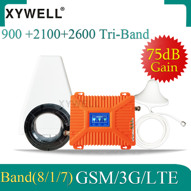 XYWELL 4g Cellular Amplifier GSM Signal Booster 2G 3G 4G 900 2100 2600 75dB GSM UMTS LTE Tri Band Mobile Phone Repeater GSM 4G