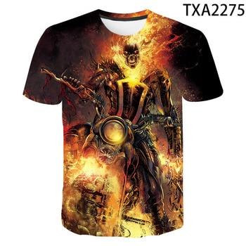 Camisetas nuevas del 2020 con estampado de calavera para hombre, camiseta fresca de manga corta para verano de Ghost Rider 3D Skull Pri = nt, camisetas de calavera para hombres