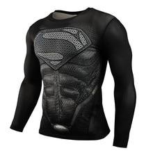 Новинка,, Мужская футболка для бега с Суперменом, рашгардом, компрессионная футболка с длинным рукавом, футболка для спортзала, футболка для фитнеса, спортивная рубашка