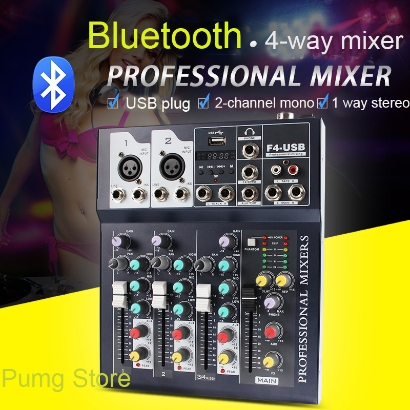 JIY Dj controller Digital Microphone Sound Mixer 4 Channel Console Power Professional Audio Mixer Amplifier With