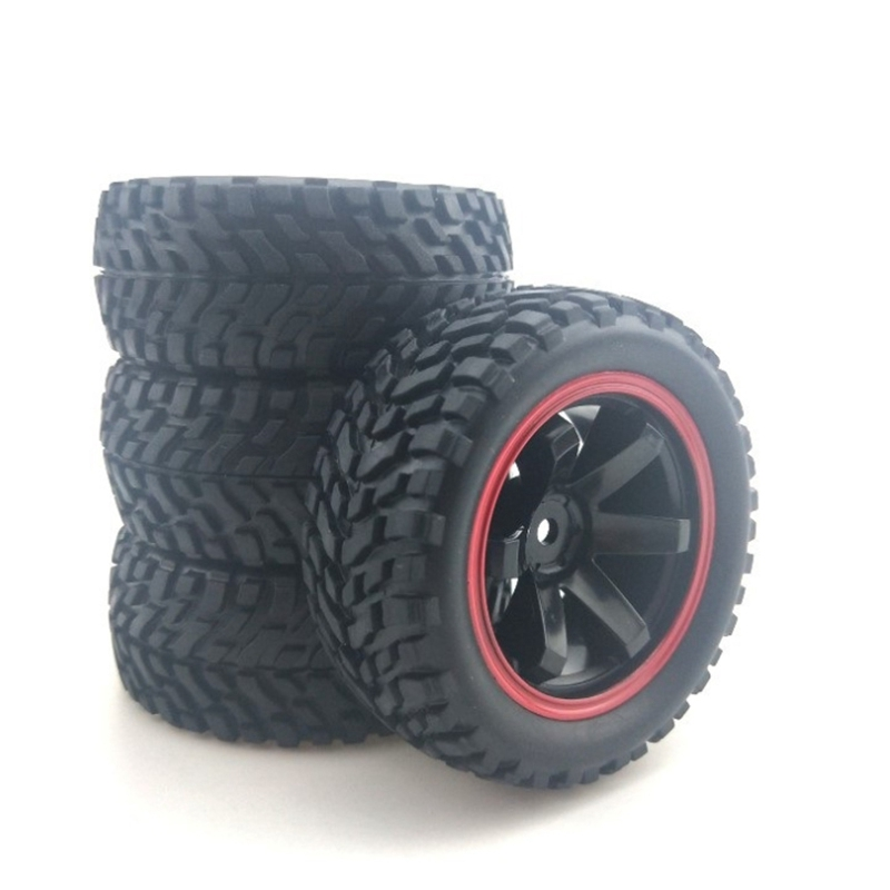 For 1:10 Rally Car 75mm Rubber Tires And Wheel Rims For 1/10 Scale HSP 94123 HPI Kyosho Tamiya RC On Road Car