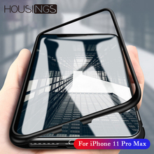 Magnetic Case For iPhone 11 Cases Tempered Glass Pro Max Adsorption Metal Coque Back Covers