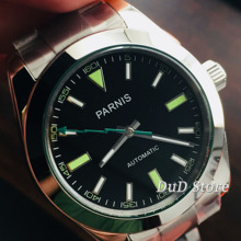 40mm 파르니스 그린 블랙 다이얼 사파이어 자동식 기계식 남성 시계 miyota Automaton Movement Luminous mens watch
