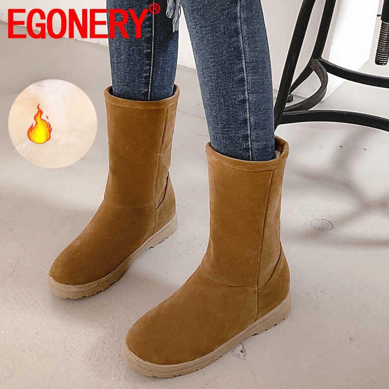 EGONERY 2019 kış yeni özlü kar botları dış rahat yuvarlak ayak orta topuklu platformu artı boyutu kadın ayakkabı damla nakliye