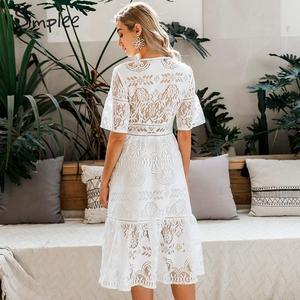 Image 5 - Simplee חלול החוצה תחרה שמלת נשים v צוואר גבוהה מותן פרע קיץ לבן שמלת גברת אביב שיק slim fit המפלגה שמלת vestidos
