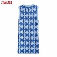 Tangada Fashion Women Plaid Pattern Elegant Sweater Dress Sleeveless O Neck Ladies Mini Dress 3H290 6