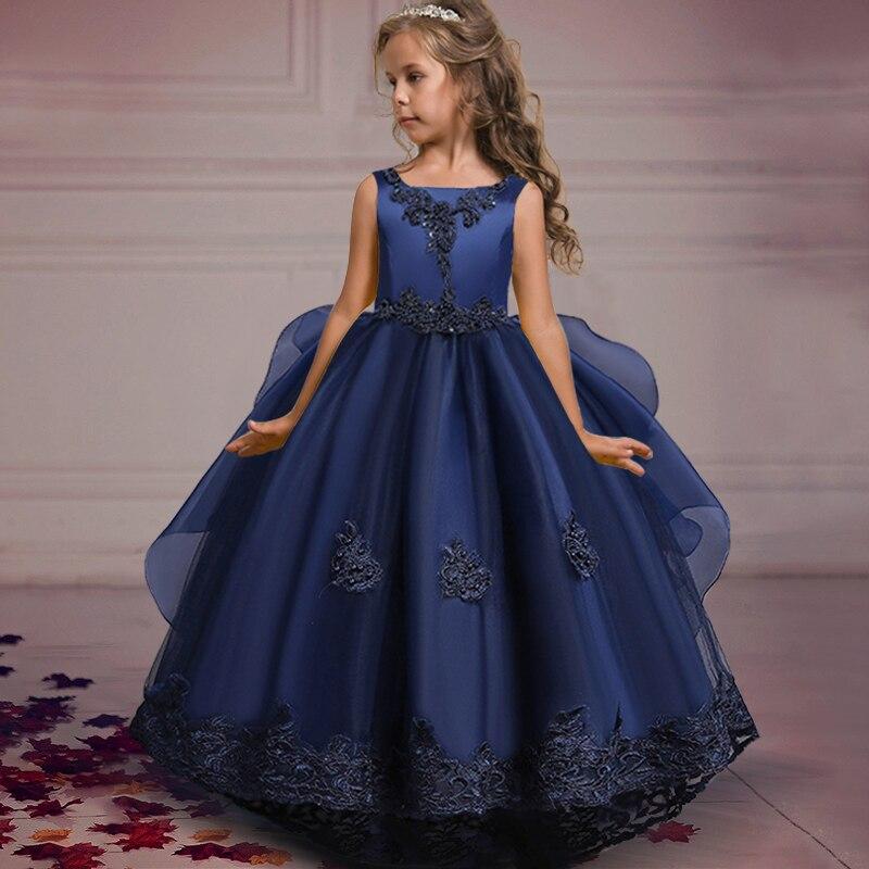 2021 летнее пышное платье принцессы с цветами элегантные Детские платья для девочек Детский костюм вечернее свадебвечерние платье на 10 12 лет