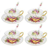 Artvigor 12 peças novo osso china café e chá serviço conjunto  padrões florais 6.8oz / 200ml cup & pires conjuntos com colheres para 4|Xícaras e canecas de café|   -