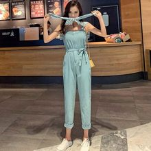 Women Jumpsuit Fashion 2020 Loose Fit Ladies Rompers Sleeveless Bow Sashes Jumpsuits With Shawl Spring Summer Womens Overalls(China)