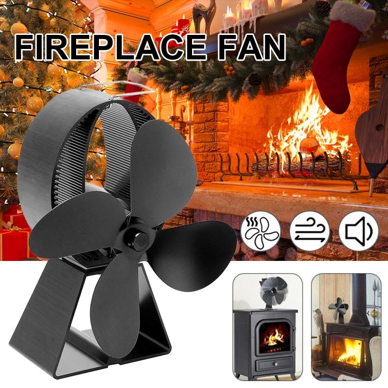 Black Stove Fan 4 Blade Fireplace Fan Heat Powered Komin Wood Burner Eco Fan Friendly Quiet Home Efficient Heat Distribution