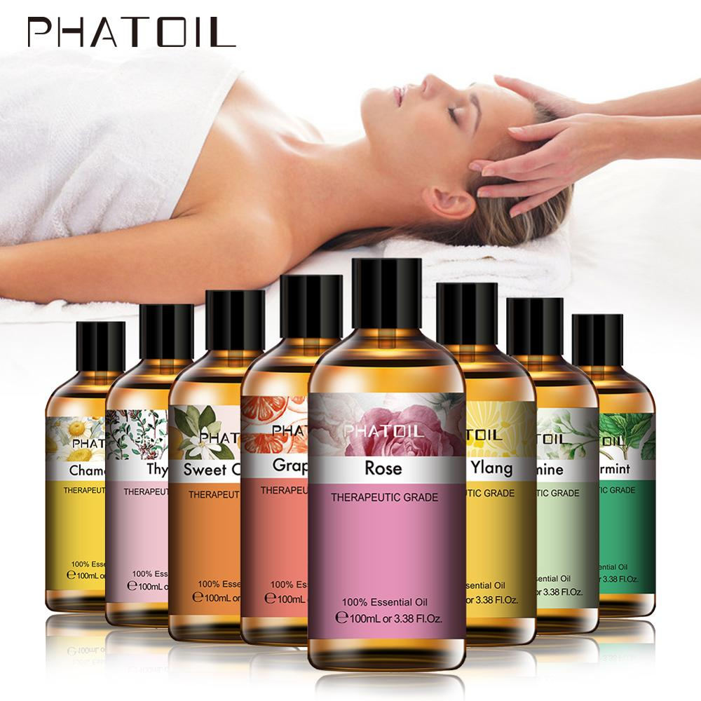 PHATOIL 100ML Geranium Eucalyptus Pure Natrual Essential Oils Rose Aromatherapy Diffuser Lavender Jasmine Mint Orange Cloves Oil