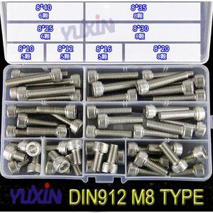 Image 5 - 280 sztuk/zestaw A2 70 304 ze stali nierdzewnej DIN912 M3 M4 M5 M6 M8 śruba imbusowa gniazdo sześciokątne okrągła czapka głowy wkręty śrubowe asortyment Kit zestaw