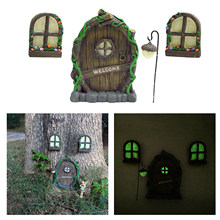 Miniature Fairy Gnome Window Door Elf Home for Yard Art Garden Sculpture Statues Decor Outdoor Fairy Garden