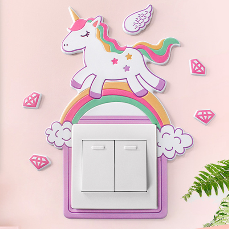 Light Switch Wall-Sticker Unicorn Flamingo-Cover Room-Decor Silicone Luminous Animal title=