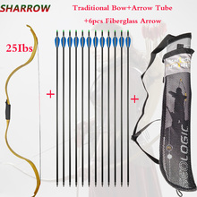 25lbs Archery Traditional Bow Powerful Recurve Bow With 6pcs Fiberglass Arrow For Outdoor Hunting Shooting  Accessories
