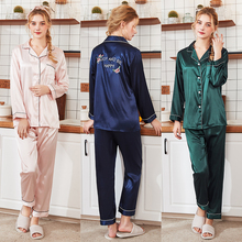 New summer and autumn silk pajamas ladies new product long-sleeved trousers home wear two-piece suit solid color sleepwear