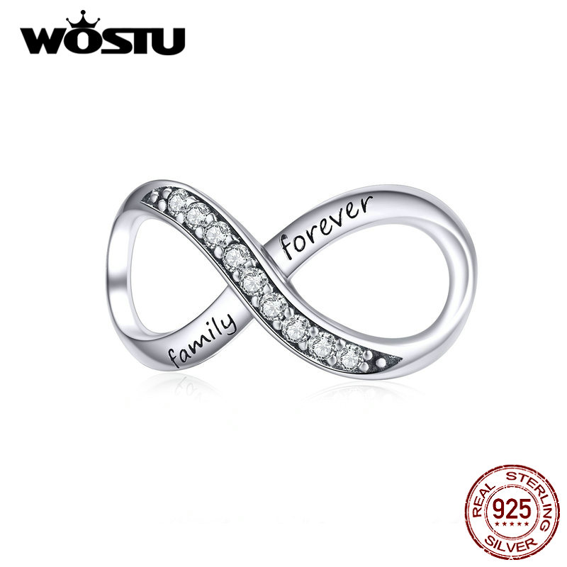 WOSTU 925 Sterling Silver Forever Family Infinity Love Charms Bead Fit Original Bracelet Pendant Jewelry CQC1146(China)