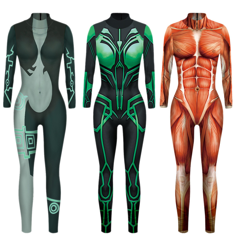 Attack On Titan Hero Bodybuilding Simulated muscle Cosplay <font><b>Costume</b></font> Top <font><b>Halloween</b></font> <font><b>women</b></font> <font><b>sexy</b></font> uniform Funny <font><b>Costume</b></font> Bodysuit Power image