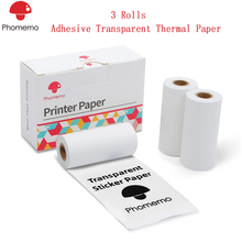 Original Phomemo 3 Rolls Adhesive Transparent Thermal Paper for Phomemo M02/M02S/M02 Pro Printer 50mm x 3.5m High Quality