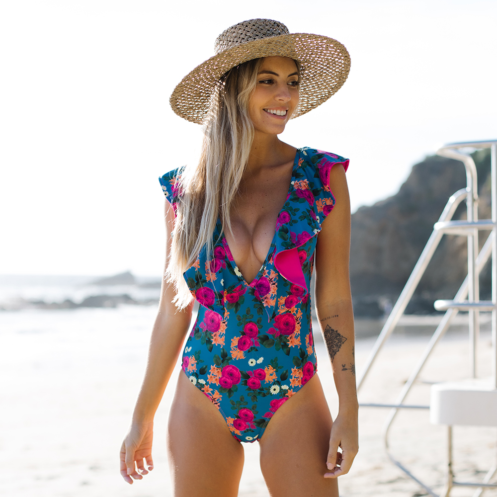 2021 New Sexy Ruffle Print Floral One Piece Swimsuit Off The Shoulder Swimwear Women Solid Deep-V Beachwear Bathing Suit Monkini