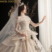 High Quality Wedding Dress 2020 Luxury Bridal Dress Gorgeous Shiny Beadwork Handwork Flower Cathedral Train Vestido De Noiva