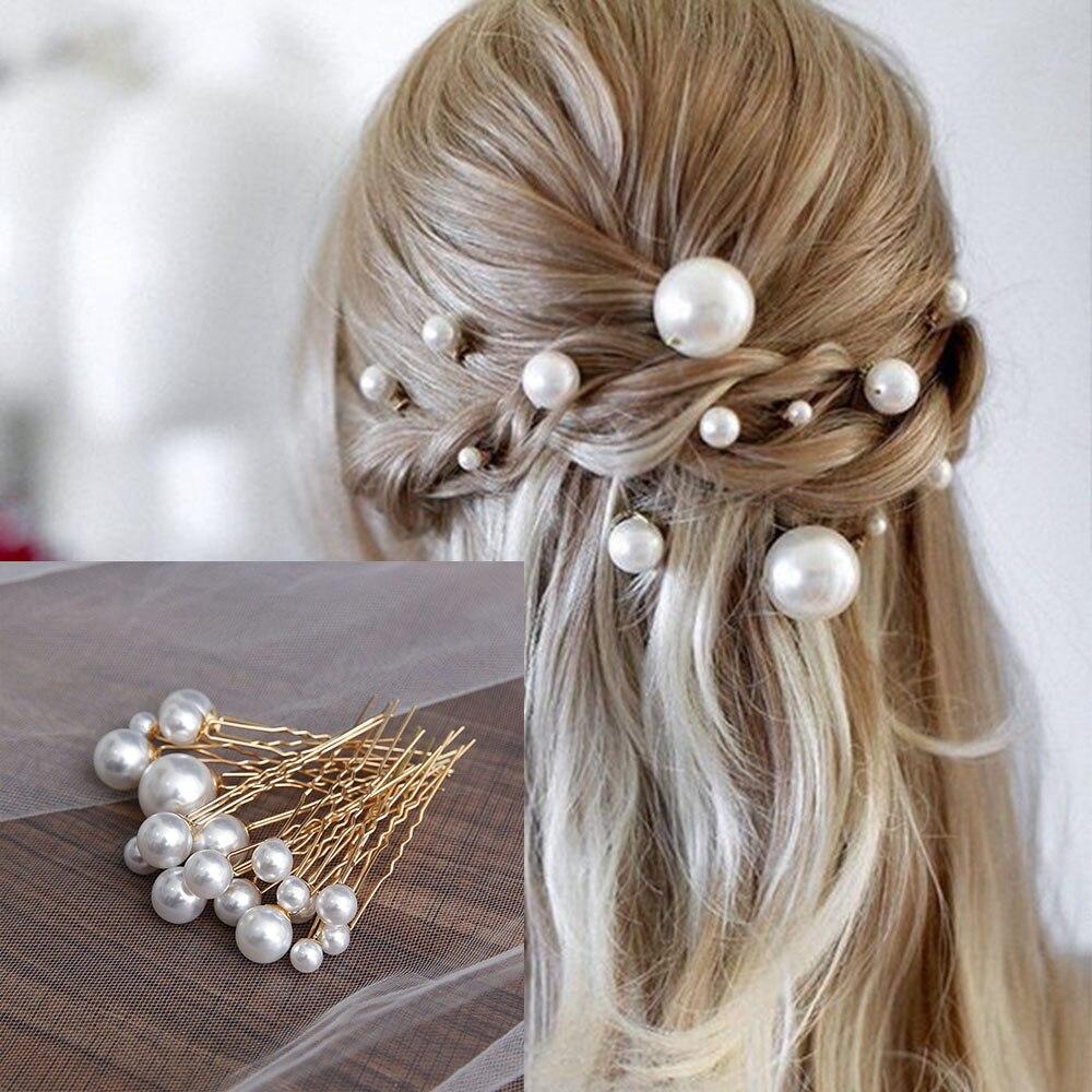 18 adet/kutu İmitasyon İnci U şeklinde Pin firkete gelin tacı saç aksesuarları düğün saç tasarım araçları Disk saç Haippins