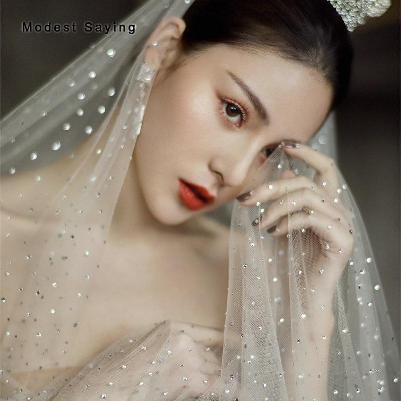 Luxury Shiny 3 Meters Ivory Sequined Wedding Veils 2019 Formal Women Cathedral Bridal Veils Wedding Accessories Velos De Novia