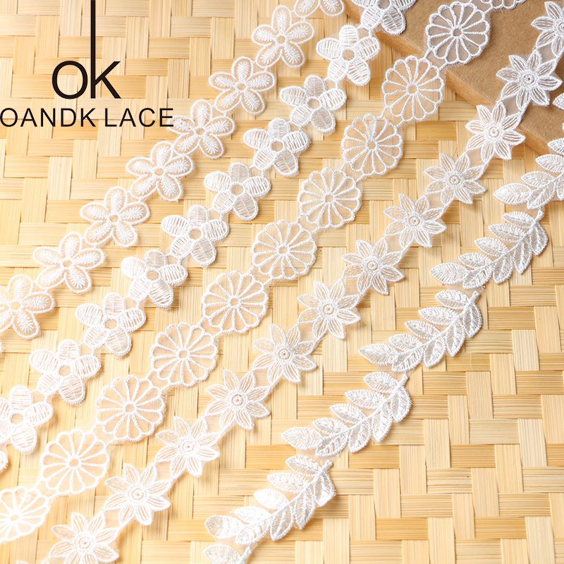Floral Embroidered Net Lace Trim Ribbon DIY Girl Headbands Sewing Decor Craft