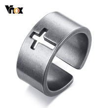Vnox Vintage Hollow Cross Ring for Men Special Surface Finish Stainless Steel Open Finger Band Male Retro Jewelry