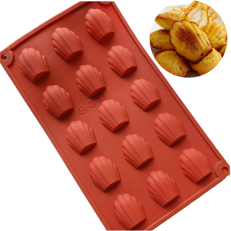 Hot Sale 3D Silicone Madeleine Cookie Pan Nonstick Chocolate Baking Tools DIY Shell Shape Pudding Jello Mold Cake Decoration