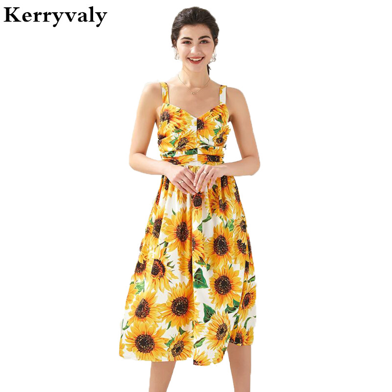 New <font><b>Yellow</b></font> Printed Pleated Summer Sexy <font><b>Sunflower</b></font> <font><b>Dress</b></font> Zomerjurk Dames 2020 Retro Midi Beach <font><b>Dress</b></font> Dames Jurken K284 image