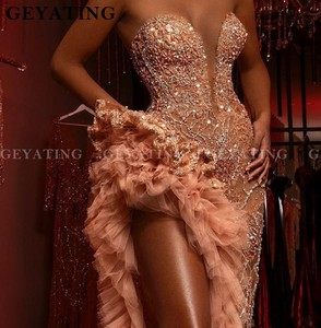 Image 4 - Luxury Crystal Beaded Side Slit Mermaid Prom Dresses Sexy Illusion Aso Ebi Champagne Ruffles Sweetheart Long Formal Dress Gowns