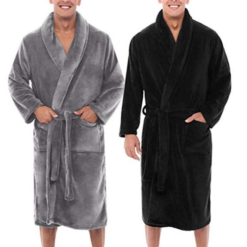 Mens Winter Warm Plush Lengthened Shawl Bathrobe Home Shower Clothes Long Robe Coat FS99