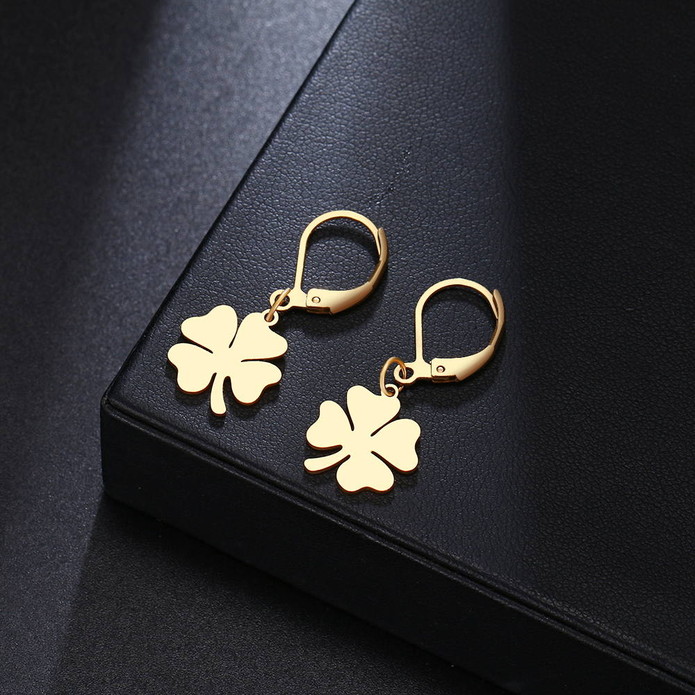 DOTIFI Hot Sale Earrings For Women Lucky Clover Stainless Steel Gold Silver Earrings Engagement Jewelry Birthday Party Gift(China)