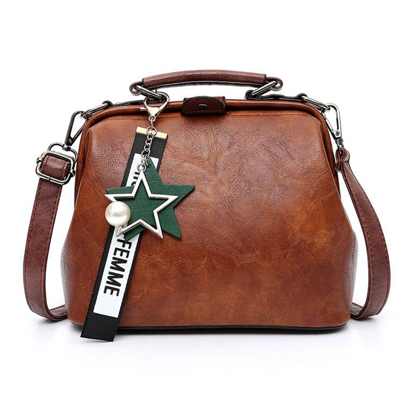 Women Handbag Leather Shoulder Bag Female Doctor Crossbody Hand Totes Star Pendant Tassel Rivets Casual Famous Brand Women Bags