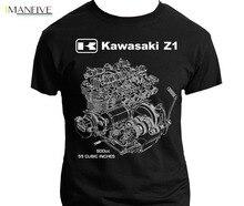 T shirt Homme 2019 New Japan Motorrad Z1 KZ GPZ ZX Engine Cutaway Shirt Motorcycle Ninja 1972 Cafe Racer