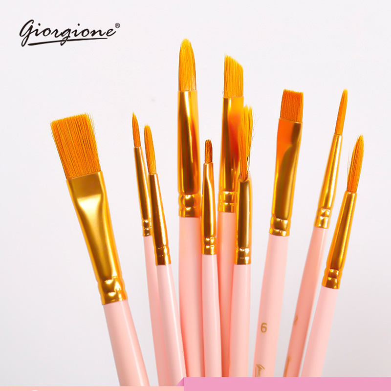 Giorgione 10pcs Artist Paint Brush For Watercolor Acrylic Oil Art Face Painting Wooden Long Handle Paint Brushes Art Supplies