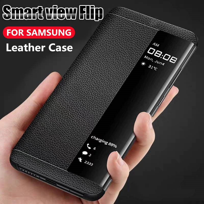 For <font><b>Samsung</b></font> Galaxy S8 S9 S10 Plus S10 lite Note 10 9 8 Smart View Window <font><b>Leather</b></font> <font><b>Case</b></font> for <font><b>Samsung</b></font> J4 <font><b>J6</b></font> A9 A7 <font><b>J6</b></font> Plus Flip <font><b>Cases</b></font> image