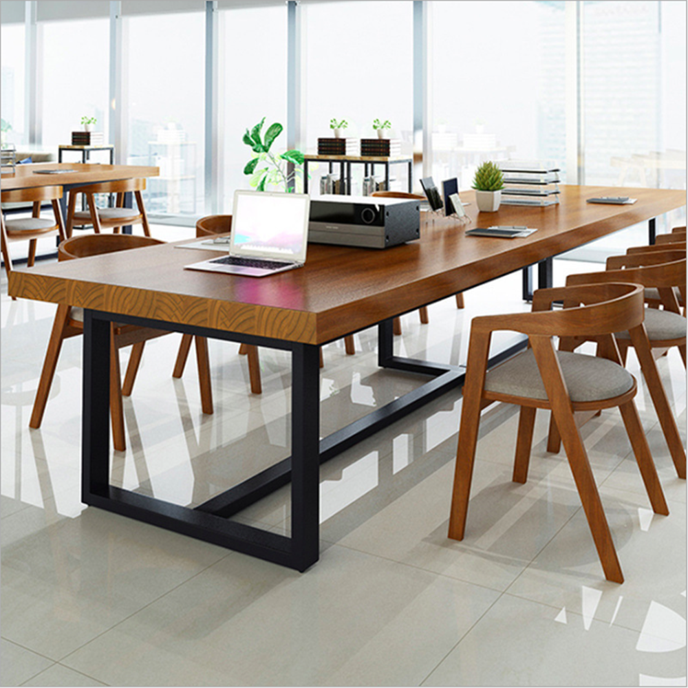 American Retro Solid Wood Desk Wrought Iron Loft Industrial Wind Strip Conference Table Company Staff Six-person Computer Desk