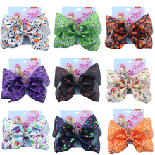 7  Jojo Bows for Girls Siwa Large Cute Print Halloween Hair With Clips Bowknot Handmade Accessories