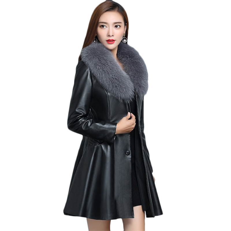 Winter New PU   Leather   Jacket Women Imitation Fox fur collar Windproof Jackets Plus size Female long Warm Bomber Jackets 4XL 1092