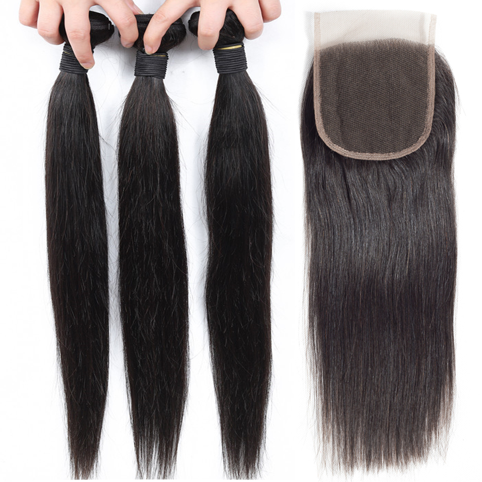 Paquetes de pelo humano de la extensión del pelo de Ariel con el cierre de la armadura del pelo peruano no Remy 3 paquetes de paquetes rectos con el cierre del cordón-in Paquetes con cierre 3 / 4 from Extensiones de cabello y pelucas on AliExpress - 11.11_Double 11_Singles' Day 1