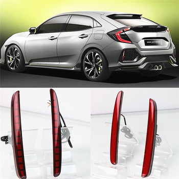 2PCS Car LED Rear Fog Lamp Brake Light Reflector Bumper Light Car-styling For Honda Civic Hatchback 2016 2017 2018 2019