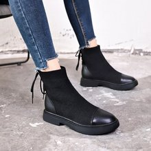 цены Round Toe Sock Boots Knitted Stretch High Heels Women Boots 2019 Brand Fashion Ankle Boots for Women Winter Shoes