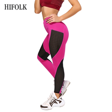 HIFOLK Black High Waist Leggings Women Mesh Patchwork Push Up Legging Fitness Pants Breathable Quick-drying Yarn Sport