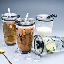Copo de palha de vidro 450ml com escala transparente estilo graffiti grande capacidade beber garrafa de suco
