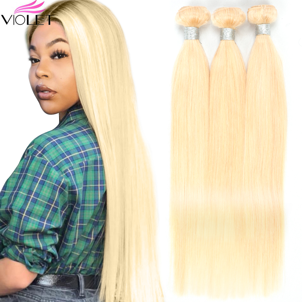 VIOLET Brazilian Straight 613 Blonde Bundle 100% Human Hair Weave 613 Color 1/ 3/ 4 PC Non Remy Honey 8-26 Inch Hair Extensions