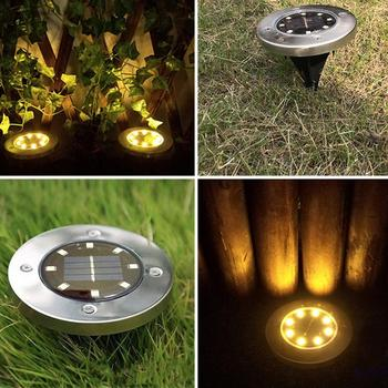 LED Solar Power Disk Light Path 4/8/10/ Buried Lights Ground Lamp Outdoor Way Garden Decking